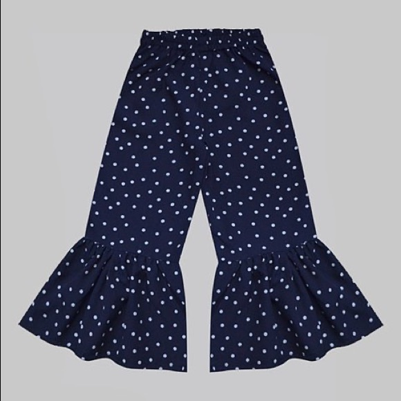 Navy Blue & White Polka Dot Boho Ruffle Pants
